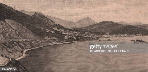 Panoramic view of Salerno and its gulf Campania Italy woodcut from Le Cento citta d'Italia illustrated monthly supplement of Il Secolo Milan 1891