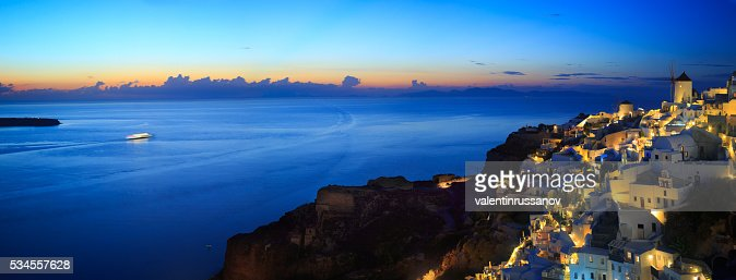 Panoramic view of Santorini at sunset