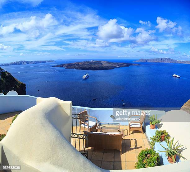 Panoramic view of Santorini volcano islands, Greece