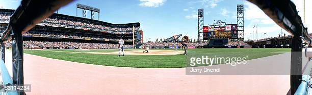 Panoramic view of SBC Park from the dugout during a game between the Washington Nationals and the San Francisco Giants on May 7 2005 in San Francisco...