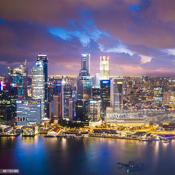 Panoramic View of Singapore at Dusk