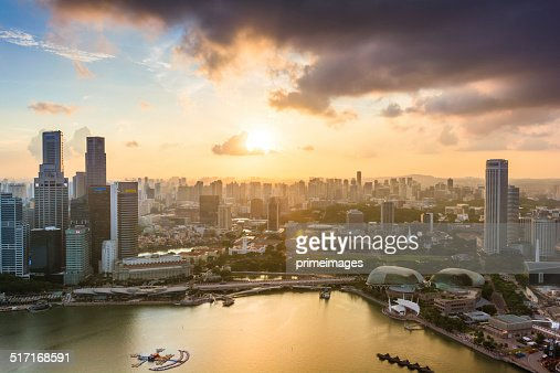Panoramic View of Singapore at Dusk