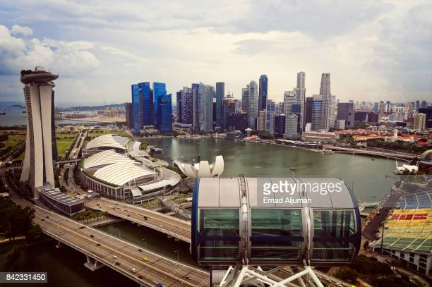 Panoramic view of Singapore downtown from Singapore Flyer - Singapore, August 2017