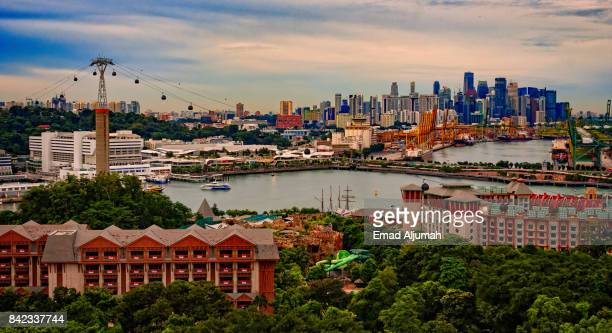 Panoramic view of Singapore from Sentosa Cable Car - August 22, 2017