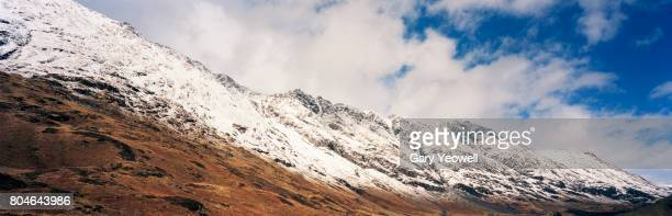Panoramic view of snow capped mountain range in Scotland
