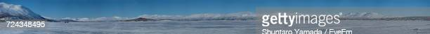 Panoramic View Of Snow Covered Mountains Against Blue Sky