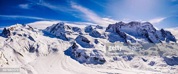 Panoramic view of snowy mountains and blue sky, Monte Rosa, Switzerland