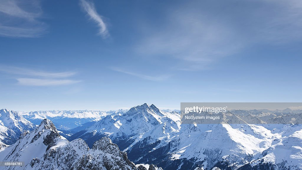 Panoramic view of St.Anton am Arlberg ski area from Valluga