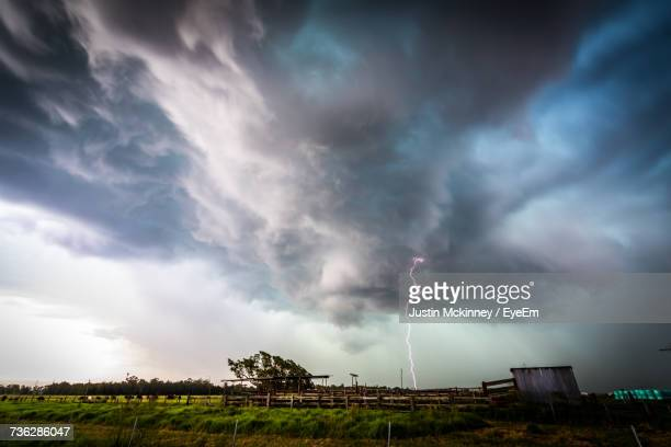 Panoramic View Of Storm Clouds Over Landscape Against Sky