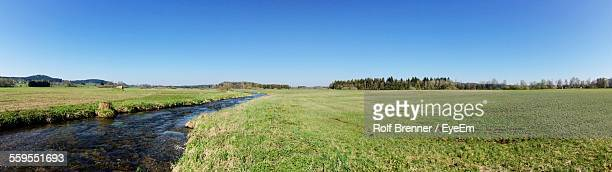 Panoramic View Of Stream Amidst Grassy Field Against Clear Blue Sky