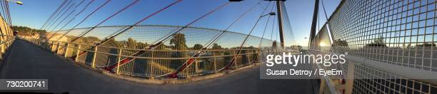 Panoramic View Of Suspension Bridge Against Sky