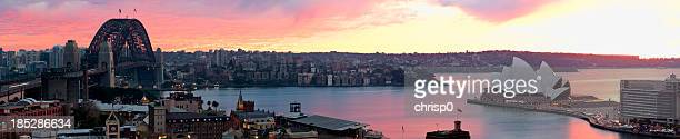Panoramic View of Sydney Harbor at Sunrise
