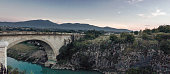Panoramic view of the ancient holy bridge in Gjakovs, Kosovo in the evening atmoshpere