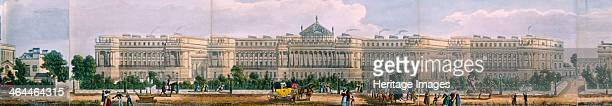 Panoramic view of the area around Regent's Park London 1831 showing Cumberland Terrace with figures in the foreground including two men pulling a...