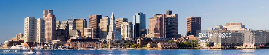 Panoramic View of the Boston City Skyline in the USA