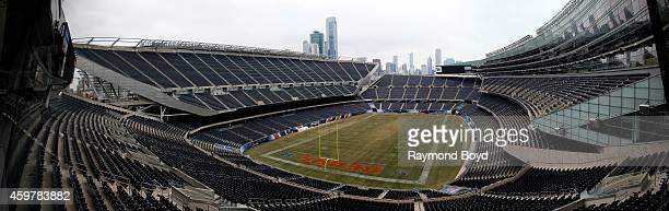 Panoramic view of the Chicago Bears playing field at Soldier Field home of the Chicago Bears football team in Chicago on November 26 2014 in Chicago...