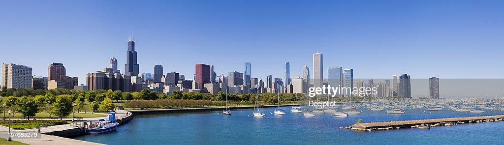 Panoramic View of the Chicago City Skyline USA : Stock Photo