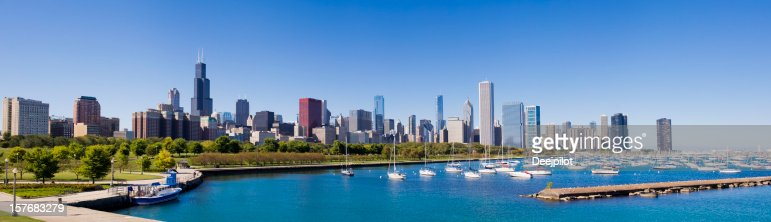 Panoramic View of the Chicago City Skyline USA