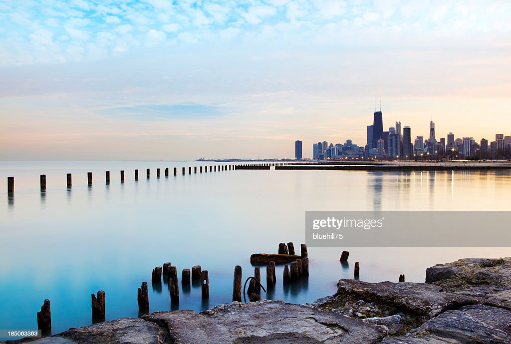 Panoramic view of the Chicago River and skyline : Stock Photo