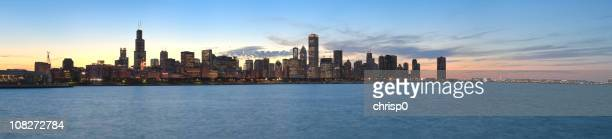 Panoramic View of the Chicago Skyline at Sunset (XXXL)