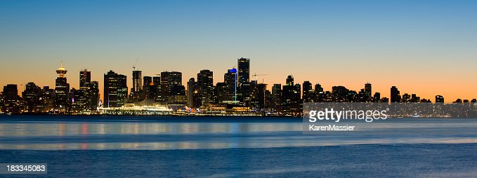 Panoramic view of the city lights of Vancouver, Canada
