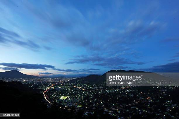 Panoramic view of the city of San Salvador seen from Los Planes de Renderos in San Marcos a suburb of the Salvadorean capital on October 24 2012 AFP...