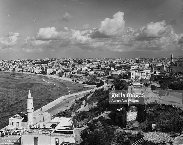 A panoramic view of the city of Tel Aviv as seen from the old port city of Jaffa Israel circa 19301960