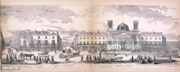 Panoramic view of the City of Westminster London showing part of Regent Street with Maddox Street Hanover Street Princess Street Hanover Episcopal...