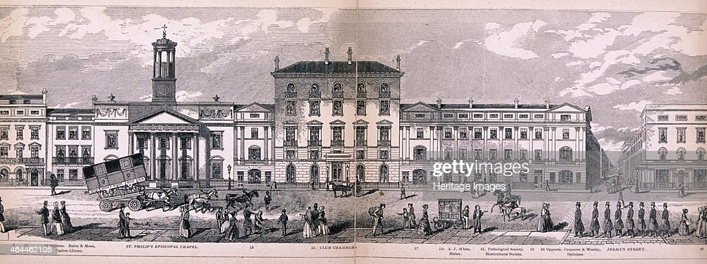 Panoramic view of the City of Westminster London showing the area between St Philip's Episcopal Chapel on Regent Street and Jermyn Street also with...