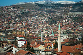 Panoramic view of the city of Sarajevo, Bosnia, with the environment