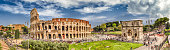 Panoramic aerial view of the Colosseum and Arch of Constantine, Rome, Italy