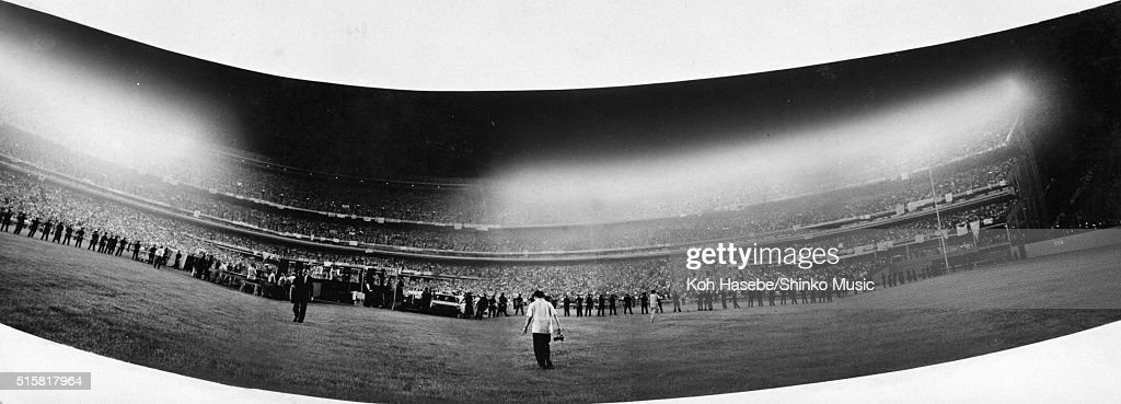 Panoramic view of the crowds in the stadium during The Beatles' last show of their final tour at Candlestick Park San Francisco California August 29...