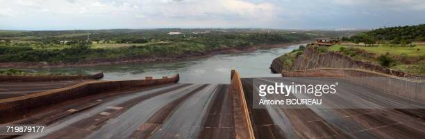 Panoramic view of the dam of Itaipu Bi-national located on the border between the Argentina and Brazil seen from the Brazilian side