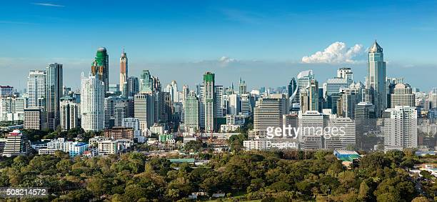 Panoramic View of the Downtown Bangkok City Skyline Thailand