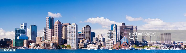 Panoramic View of the Downtown Boston City Skyline USA