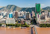 Panoramic view of the downtown of Lanzhou (China)