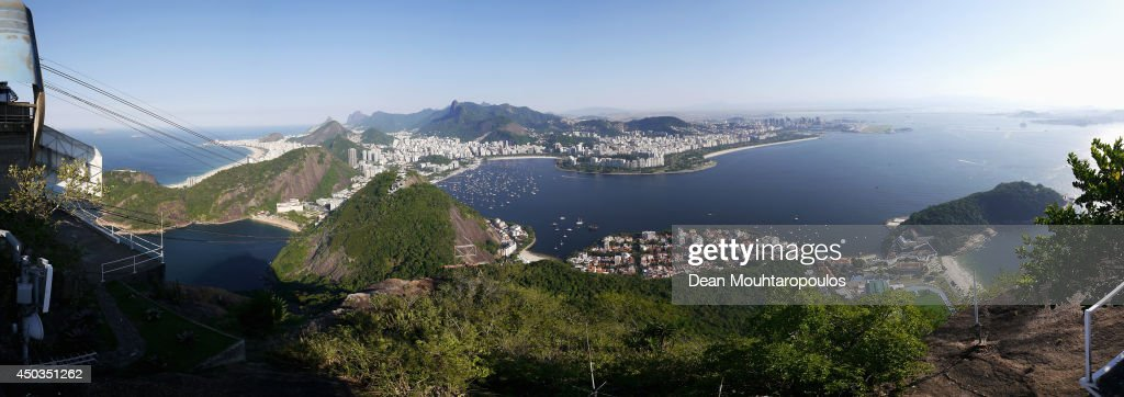 A panoramic view of the Enseada de Botafogo harbour, Atlantic Ocean, Ponta do Leme, Guanabara Bay and Copacabana beach shot from the Sugarloaf Mountain prior to the 2014 FIFA World Cup on June 9, 2014 in Rio de Janeiro, Brazil.