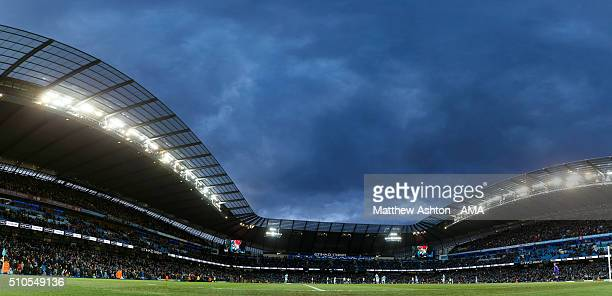 A panoramic view of The Ethiad Stadium home of Manchester City during the Barclays Premier League match between Manchester City and Tottenham Hotspur...