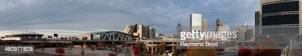 Panoramic view of the Georgia Dome home of the Atlanta Falcons football team Philips Arena home of the Atlanta Hawks basketball team and downtown...