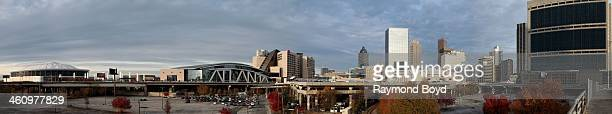 Panoramic view of the Georgia Dome home of the Atlanta Falcons football team Philips Arena home of the Atlanta Hawks basketball team and downtown...