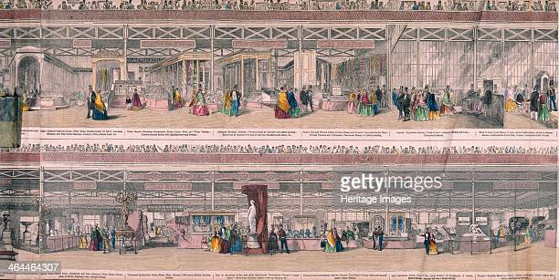Panoramic view of the Great Exhibiton of 1851 held at Crystal Palace in Hyde Park London The upper half shows exhibitions of flax and printing and...