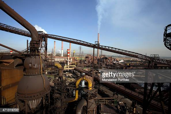 Panoramic view of the Ilva iron and steel plant in Taranto during a photo shooting Taranto Italy 14th November 2006
