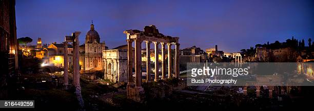 Panoramic view of the Imperial Forum in Rome