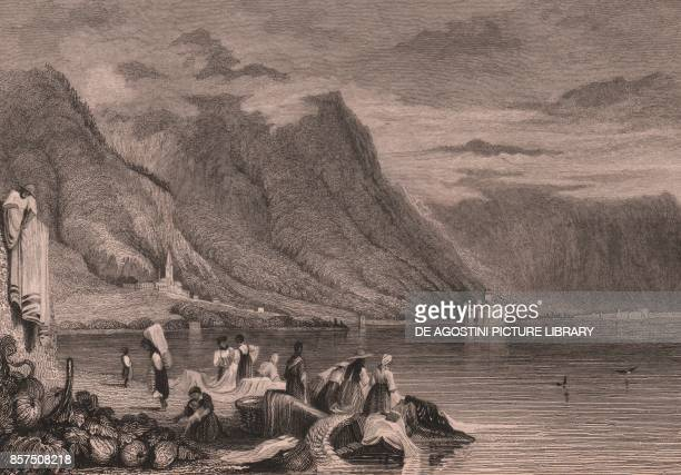 Panoramic view of the Lake Geneva with the Chillon Castle in the background Switzerland steel engraving after a drawing by Samuel Prout 147x96 cm...
