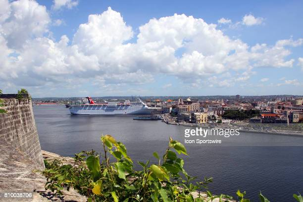 A panoramic view of the Malecón with the Carnival Paradise parked at the cruise terminal on the far left hand side on June 30 in Havana Cuba