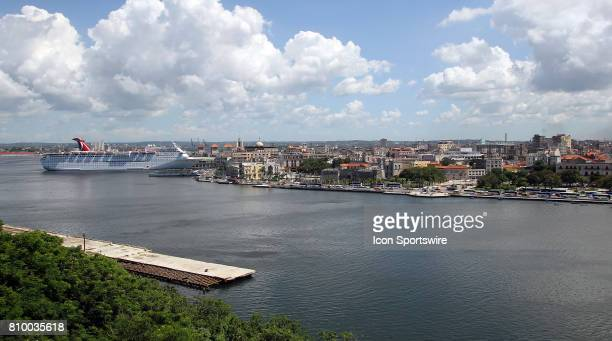 A panoramic view of the Malecon with the Carnival Paradise parked at the cruise terminal on the far left hand side on June 30 in Havana Cuba