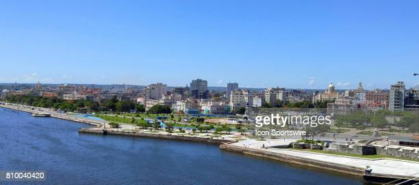 A panoramic view of the Malecon with the Castillo de la Real Fuerza on the far right hand side on July 4 in Havana Cuba