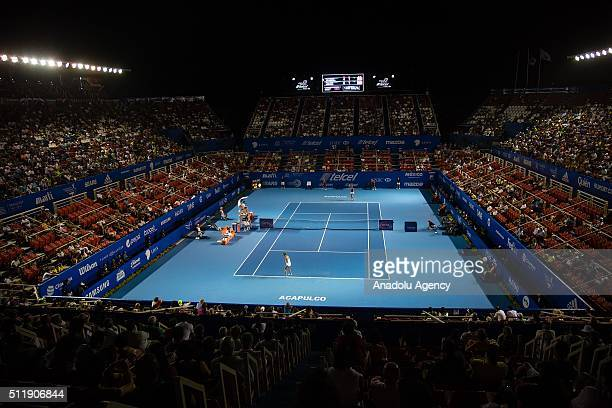 A panoramic view of the Mextenis Stadium during the second day of the Mexican Open tennis tournament in Acapulco Mexico on February 23 2016