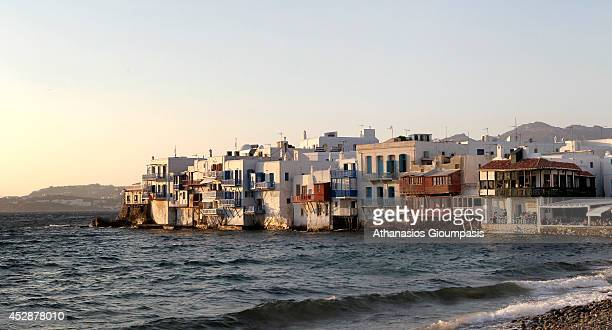 Panoramic view of the Mikri Venetia on June 29 2013 in Mykonos Island Greece Little Venice rows of fishing houses line the waterfront with their...