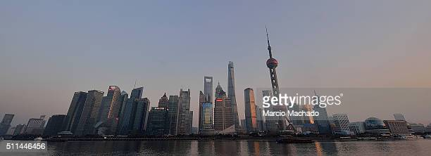 A panoramic view of the New Pudong Area the Financial Center of Shanghai with the Oriental Pearl TV Tower on February 19 2016 in Shanghai China